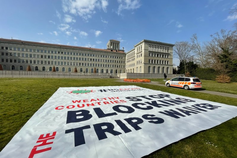 View of the banner deployed by MSF in front of the WTO