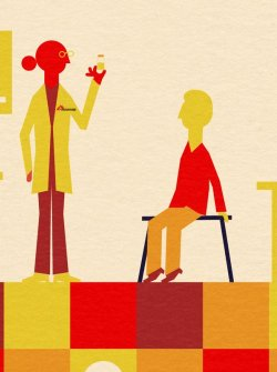 Illustration of an MSF worker and a patient